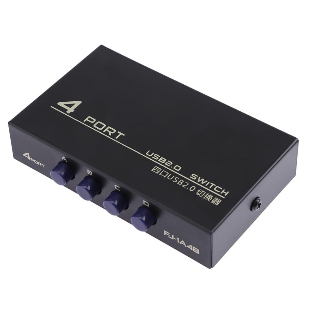 4 puertos USB 2,0 compartir interruptor Selector caja interruptor Sharing Hub adaptador para PC impresora accesorio de alta calidad