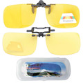 F8 Yellow Patented Polarized Clip on Flip up Sunglasses,Night Driving Glasses Clip-On With Case