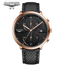 Moda Reloj de Los Hombres de Primeras Marcas de Lujo GUANQIN Diseñador Dial Grande Relojes de Cuarzo Hombres Reloj de Pulsera Deportivo de Cuero Resistente Al Agua Reloj Masculino