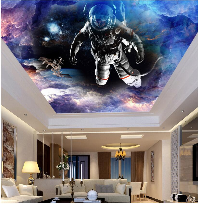 Us 15 04 46 Off Wdbh Custom 3d Ceiling Murals Wallpaper Space Star Space Shuttle Astronaut Painting 3d Wall Murals Wallpaper For Living Room In