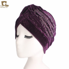 New fashion women luxury velvet turban rhinestoned ruffle turban hair cap Turbante Hat Women Hijab Headwear luxury rhinestoned hollow out ring for women