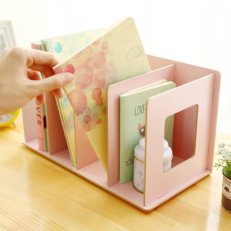 Home Office Storage Wood Organizer Shelf Tabletop Storage Book Shelf Book Holder Eco-Friendly Bag for Home Storage Organization