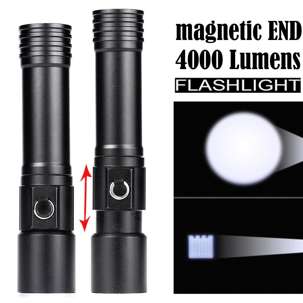 Led Lighting Contemplative Zoomable Magnetic End Flashlight Waterproof Torch Light Lamp 18650 Led Torch Flashlight Latarka Handheld Linterna Lanterna