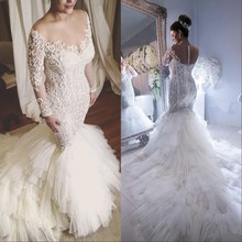 New Luxury Mermaid Lace Wedding Dresses 2019 robe de mariee Long Sleeve Gowns Illusion Back Sheer Ruffle Bride Dress