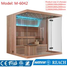 Harvia piec do sauny ogrzewanie za pomocą hartowane okulary popularny projekt sauna pokój M-6042 tanie tanio Pokoje sauny Z pawęży okna 4 osób Z litego drewna Sucha para Haisland Canadian cedar