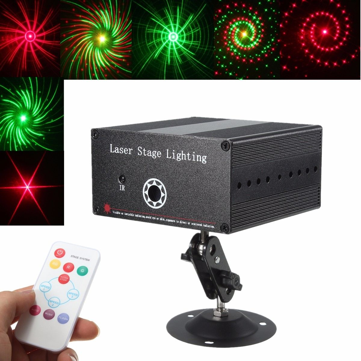 Romantic 24Patterns 10W Laser Projector Stage Lights LED R&G Lighting Christmas Party KTV DJ Disco Light Colored