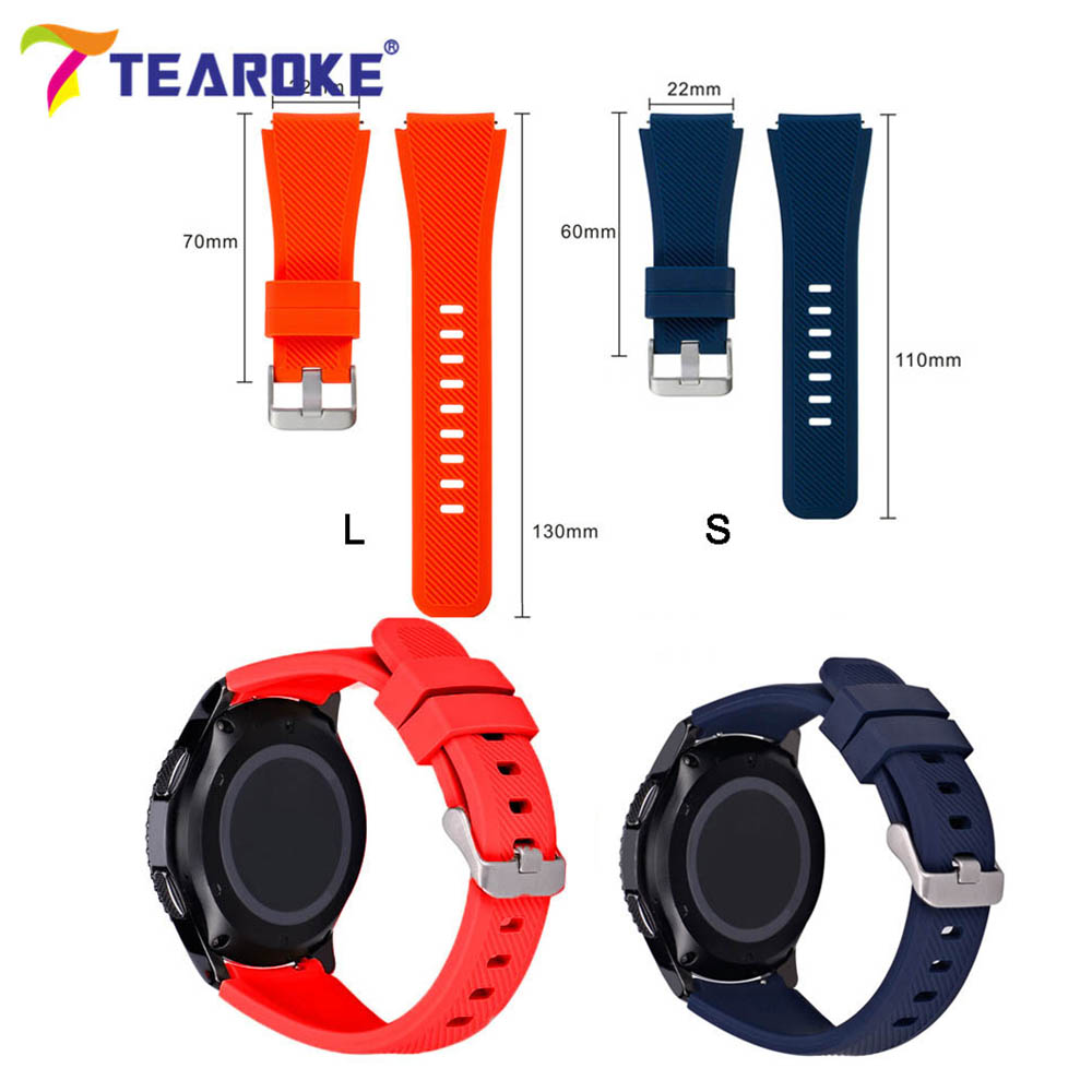 TEAROKE 22mm Silicone Watchband For Samsung Galaxy Watch 46mm Version Soft Rubber Sport Band Strap Bracelet For Gear S3 SM-R800
