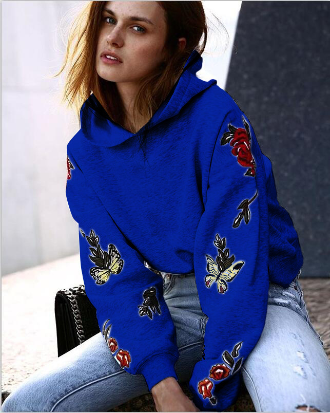 S-XL colorful butterfly printed long sleeve hooded tops blouse autumn winter casual leisure brand tops blouse