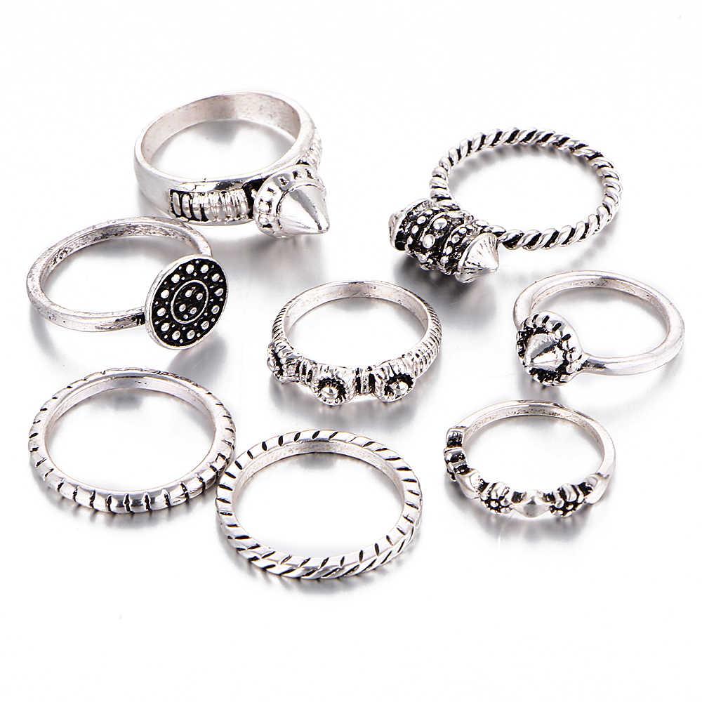 ถ้าคุณ8ชิ้น/เซ็ตโบราณหินเทียมผสมขนาดแหวนชุดโลหะผสมสังกะสีMidiสำหรับผู้หญิงSteampunkของขวัญคริสต์มาสเครื่องประดับ