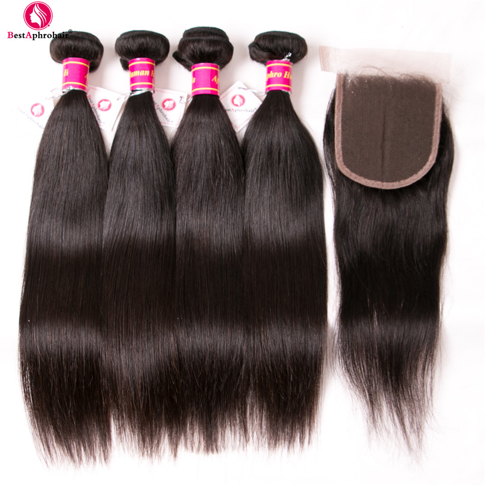 Cambodian Straight Hair Bundles With Closure 5pcs Lot Human Hair Bundles With Lace Closure Free Middle