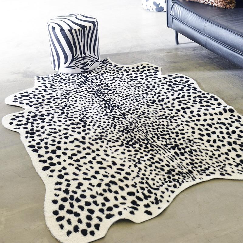 140X200CM Animal Print Carpet Zebra Leopard Faux Skin Leather Carpets For Living Room Soft Fur Decoration Rug And Mat