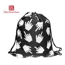 Hot Fashion Novelty Women 3D Printing Hand Bone Bags Black Drawstring Bag For Men Travel Pocket Backpack Worek