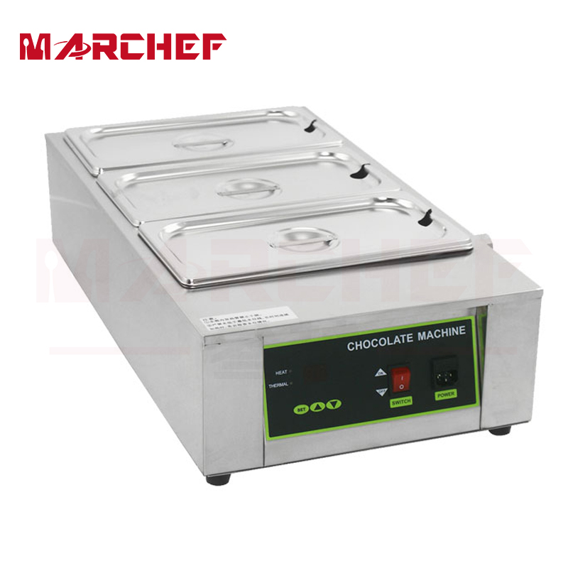 Commercial Electric Chocolate Melter Warmer Temperer Boiler W/3 Melting Pots 1pcs 1000w 8kg capacity electric chocolate melter chocolate tempering machine
