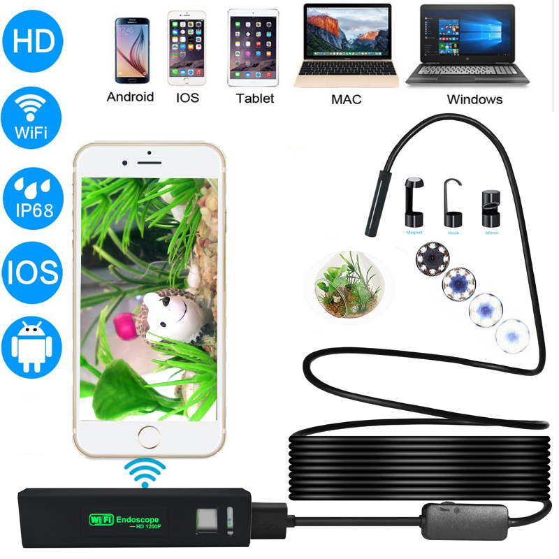 New arrival 8mm Usb Android Wifi Endoscope IP68  Waterproof Flexibble Camera Inspection  Borescope Endoscope Support IOS MAC PC new safurance 8mm 6 led wifi endoscope waterproof ip67 borescope inspection camera for andriod ios