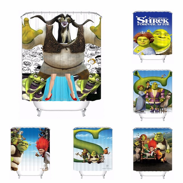 Custom Shrek Cartoon Patten Bath Curtain Bathroom Mildewproof Waterproof Polyester Shower Curtain180417 04 56