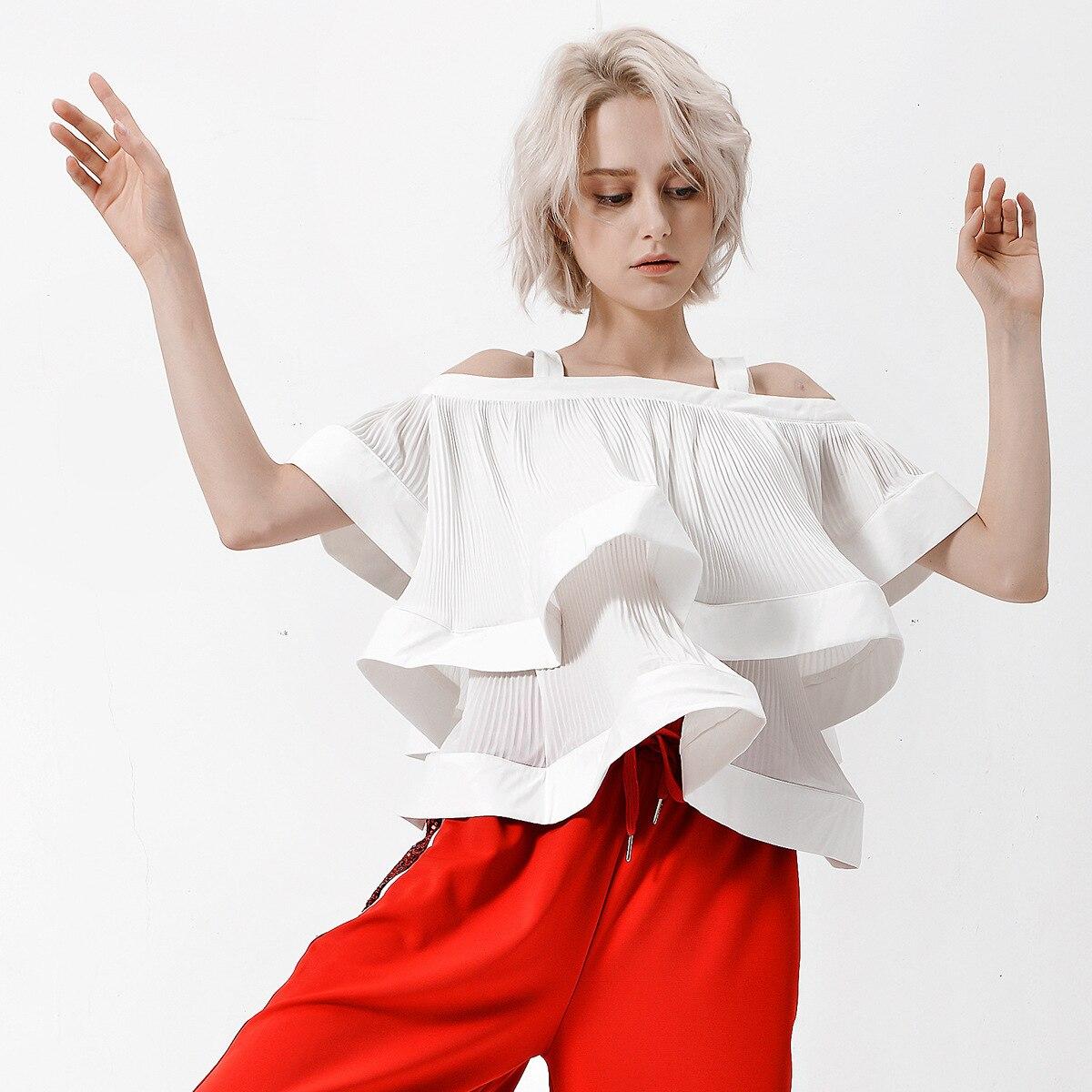 Coréen 2019 Harajuku blanc T-shirt femme Streetwear Camisole T-shirt résistant plissé multi-couches été hauts femme vêtements QH185
