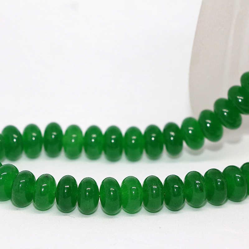 5*8 мм Малайзийский зеленый нефрит камень халцедон rondelle abacus Свободные бусины подходят diy браслет ожерелье Изготовление ювелирных изделий 15 дюймов B172