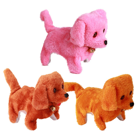 New Electronic Dog Toy Battery Powered Steel Blue Plush Walking Barking Electronic Pets Dog Toys Brown Yellow Pink