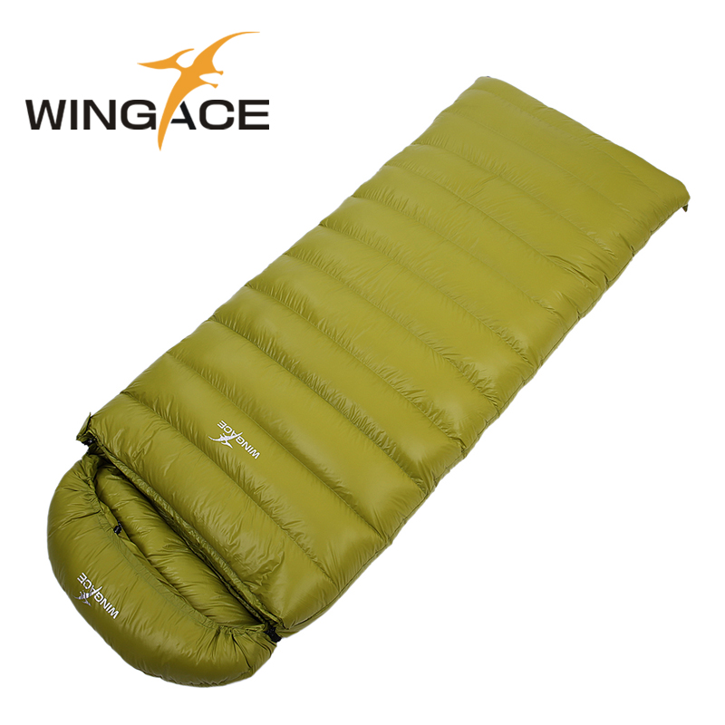 WINGACE Fill 1500G sleeping bag winter goose down outdoor Camping envelope Adult hiking Sleep Bag uyku tulumu bolsa termica