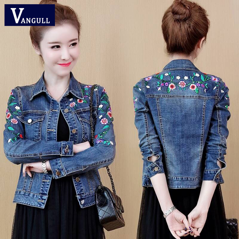 Женское джинсовое пальто Vangull, облегающая куртка с цветочным принтом, 2019