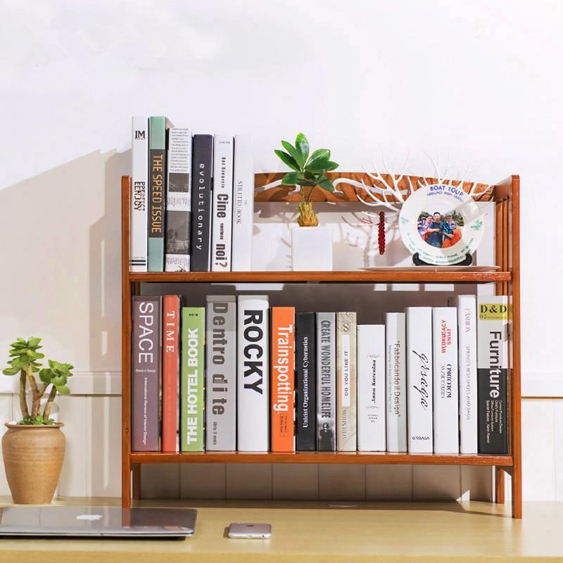 50cm Student Desk Bookcase Bookshelf Bamboo Wood Desktop Simple Multi-function Wooden Self Storage Holder Home/Office Decor