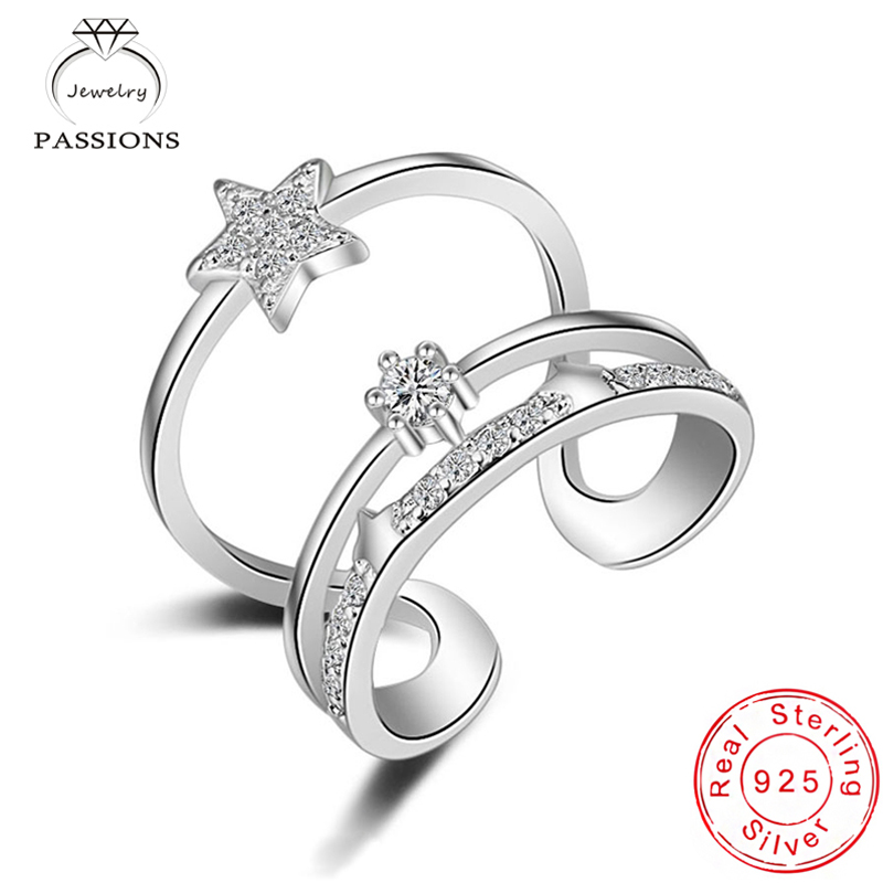 New Fashion 925 Sterling Silver Star Rhinestone CZ Multilayers Rings Open Adjustable AAA Zircon 3 Layers Ring Women Jewelry Gift