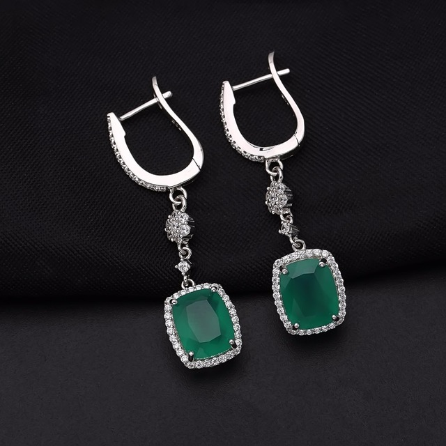 Gem's Ballet 4.43ct Natural Green Agate 925 Sterling Silver Fine Jewelry Drop Earrings Jewelry Unique Gift For Women-in Earrings from Jewelry & Accessories on Aliexpress.com | Alibaba Group