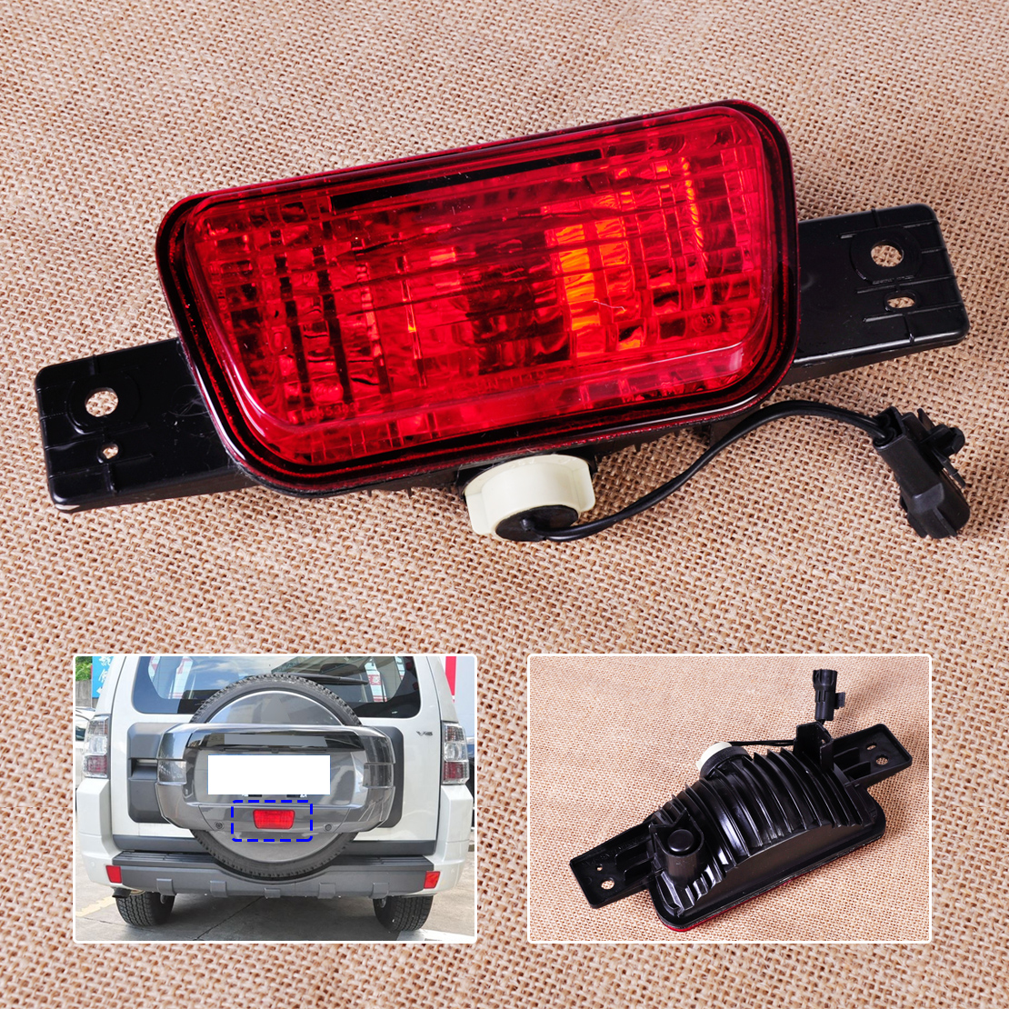 CITALL Rear Spare Tire Cover Tail Bumper Light Fog Lamp for Mitsubishi Pajero Shogun 2007 - 2009 2010 2011 2012 2013 2014 2015 runmade for 2010 vw transporter t6 t5 before facelift lower bumper grill fog cover fog light lamp set left