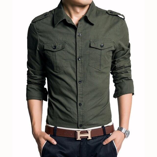 e9e36a566a24c Novo 2016 Dos Homens Camisa de Manga Longa Estilo Militar Camisas Bolso  Duplo Slim Fit Camisas