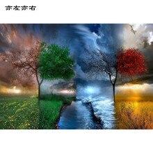 Four Seasons дерево пейзажи DIY цифровой живописи по номерам современные стены Книги по искусству холст картины уникальный подарок домашний декор 40×50 см
