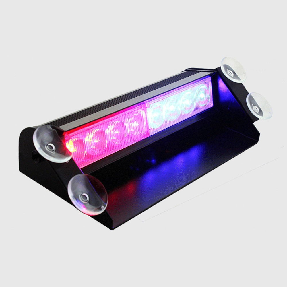 CYAN SOIL BAY 8LED 8 LED Car Truck Dash Strobe Flash Light Emergency Police Warning 3 Modes Red/Blue cyan soil bay 240 led red car police emergency beacon harzard magnetic flash strobe light bar
