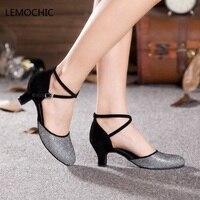 LEMOCHIC New Dancing Shoes For Women Samaba Latin Ballroom Girls Salsa Tango Jazz Dance Kitten Heel