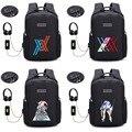 Anime LIEBLING in die FRANXX rucksack USB lade Rucksack student buch tasche Schule Tasche Mochila männer reisen Taschen 14 stil