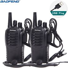 2Pcs Baofeng BF 888S Walkie Talkie USB Charge Adapter Portable Radio CB Radio UHF 888S Comunicador Transceiver+2 Headphone