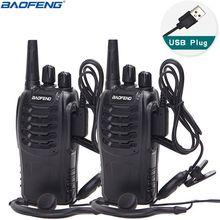 2Pcs Baofeng BF 888S Walkie Talkie USB Charge Adapter Portable Radio CB Radio UHF 888S Comunicador Transceiver+2 Headphone