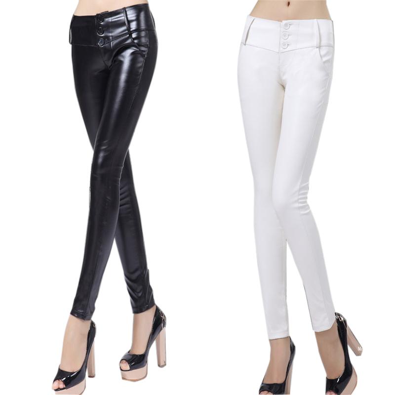 New 2014 Selling Fashion High Waist Pants Black White Leather Pants Women Leggings , PU Faux Leather Pencil Trousers