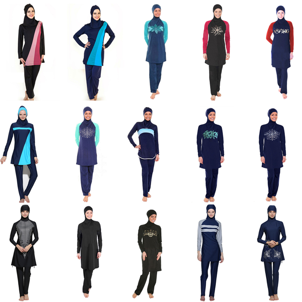Push Up Long Sleeve Plus Size Women Full Cover Swimsuit Burkinis Muslim Swimwear Modest Islamic Swim Wear Baiclothing in Muslim Swimwear from Sports Entertainment