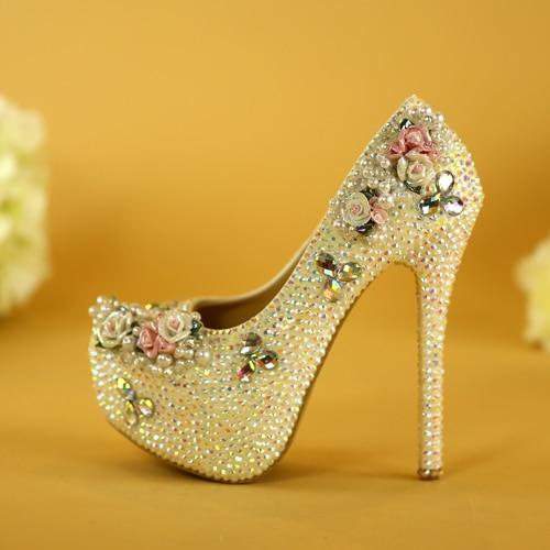 цена на New slipper female high-heeled shoes joker princess fine with wedding shoes white evening dress shoes female diamond performance
