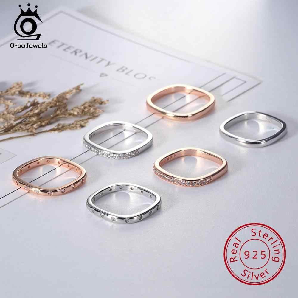 เครื่องประดับ ORSA ของแท้ 925 แหวนเงินสเตอร์ลิงระยิบระยับ AAA CZ Anel หญิงแหวนนิ้วมือผู้หญิงหมั้นเครื่องประดับ SR50