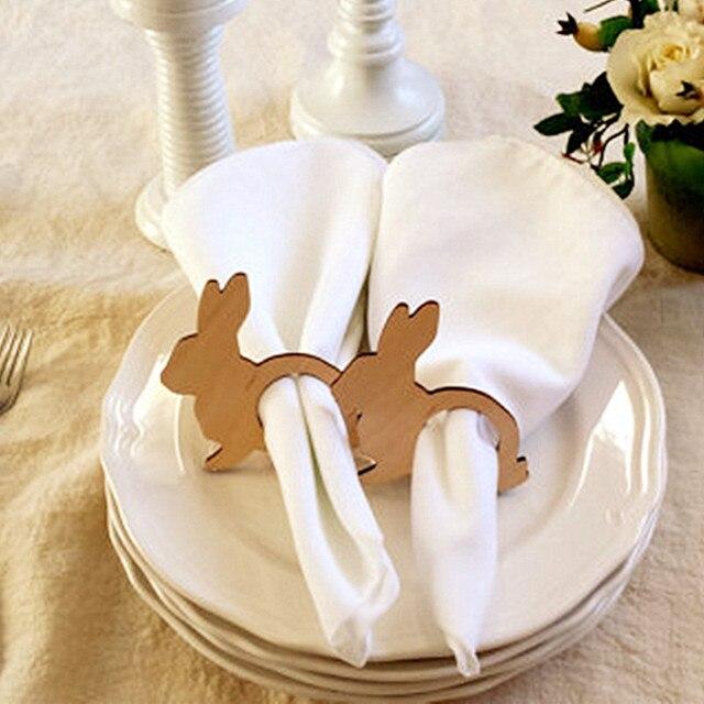 12 sztuk Pierścienie na Serwetki Serwetka Wielkanoc Zajączek Posiadacze Drewna Wiosna Dekoracje Stołu