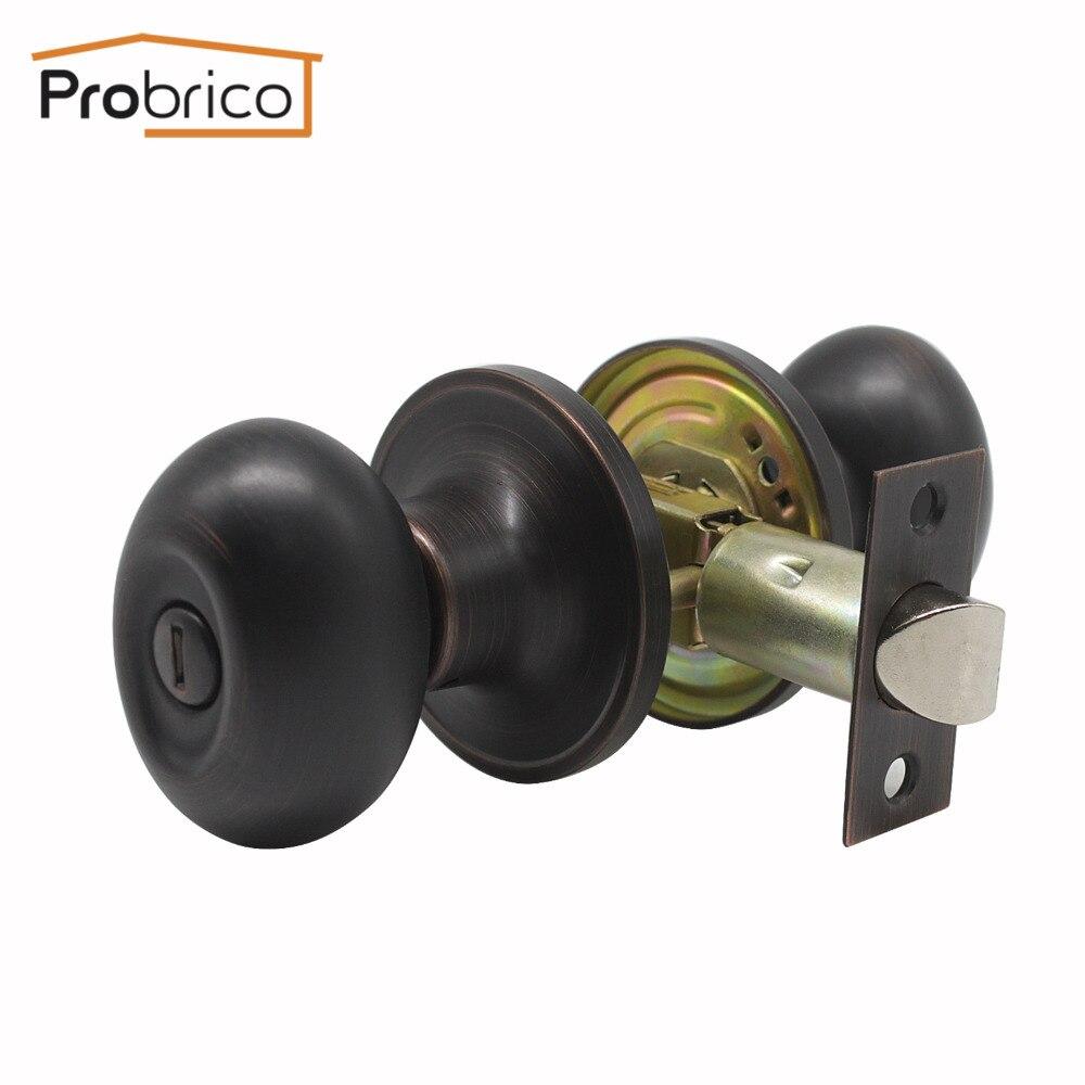 Probrico Egg Head Keyless Interior Door Locks Modern Oil Rubbed Bronze Security Interior Door Handle For Homes Privacy Door Lock