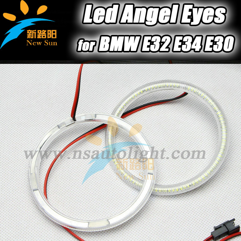 High Brightness for BMW Headlight LED Angel Eyes Ring 4x 120mm smd 3014 Led Angel Eyes for BMW E30 E32 E34 led rings white 3014 smd led angel eyes headlight halo ring marker 131mm 145mm for bmw e46 non projector