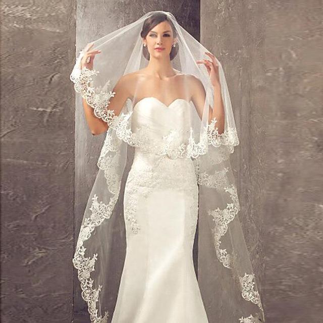 2019 المرأة الأبيض/العاج الدانتيل طرحة زفاف طويل 3M كاتدرائية يزين حافة 1 طبقة ل الزفاف الكنيسة