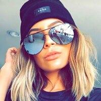 Victorylip 2016 Good Quality Flat Lens Famous Italy Brand Designer Pilot Mirror Sunglasses Women Men Sun