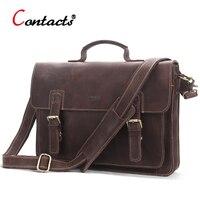 CONTACT S Genuine Leather Bag Men Handbag Male Messenger Shoulder Bag Briefcases Laptop Crossbody Bags