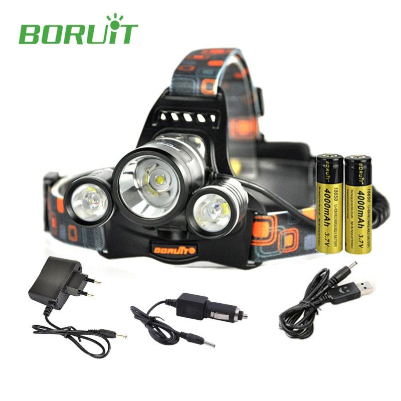 Boruit rj-5001 6000LM LED Del Faro ricaricabile 3 XM-L L2 Faro USB Escursionismo Torcia Testa della lampada con 18650 battery + Charger