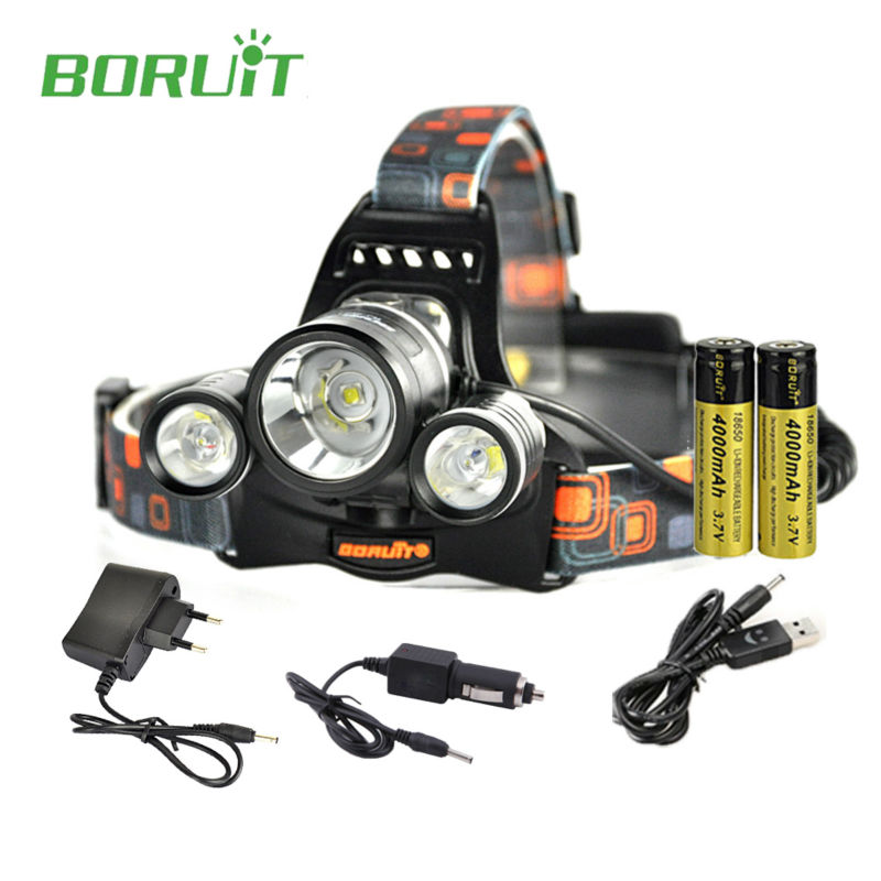 Boruit rj-5001 LED Headlamp rechargeable 6000LM 3 XM-L L2 Headlight USB Hiking Flashlight Head lamp with 18650 battery + Charger fenix hp25r 1000 lumen headlamp rechargeable led flashlight