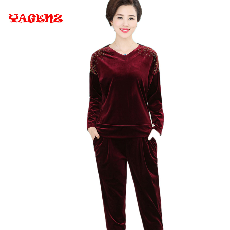 2017 new Autumn Ms Casual Velvet set women middle age spring V-neck plus size XL-5XL soft and comfortable for women