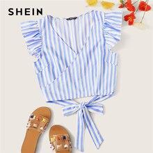 SHEIN Ruffle axila nudo espalda rayas Top azul con envoltura de cinturón Slim Fit cuello pico verano sin mangas y blusas Tops para mujer
