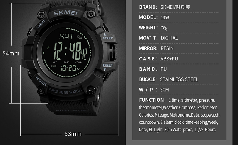 SKMEI Men Watch Sport Altimeter Pressure Thermomet Weather Pedometer Calories Compass Multifunction LED Digit Wrist Watches Men